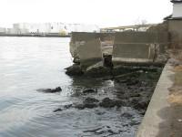 津波で壊れたと思われる岸壁
